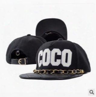 Wholesale-2015 Iron Chain Leather Snapback Brand Coco Embroidered Hip-hop Baseball Cap Casual Flat Brimmed Adjustable Hat For Men Women