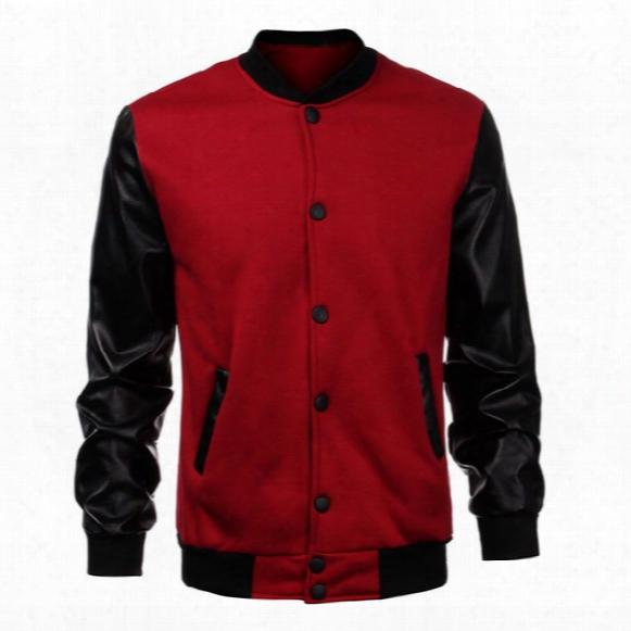 Wholesale- 2016 Fashion Esign Cool College Baseball Jacket Men Black Pu Leather Sleeve Sweatshirt Mens Slim Fit Varsity Bomber Jacket