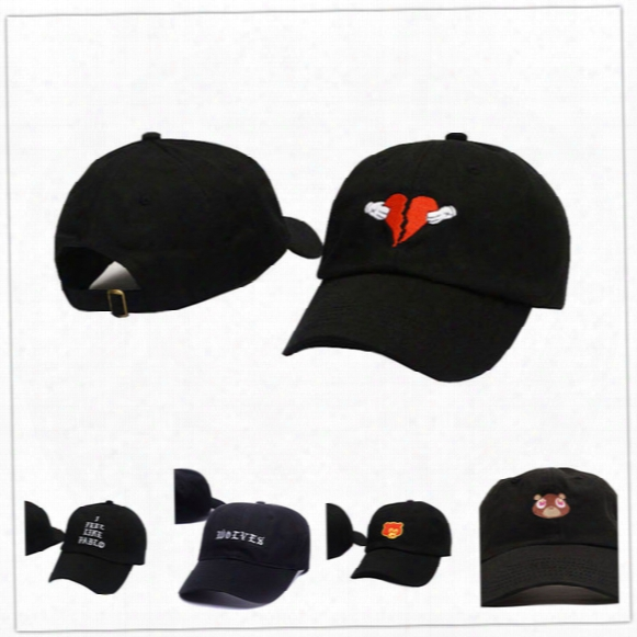 Wholesale  808s And Heartbreak Kanye West Hat Wolves Bear Pablo Hat Pink Black White Men Women Dad Baseball Snapback Cap Casquette