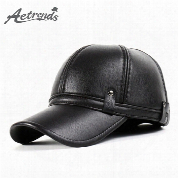 Wholesale- [aetrends] 2016 New Winter Leather Baseball Cap Men Polo Hat With Ears Warm Outdoor Hats Z-3861