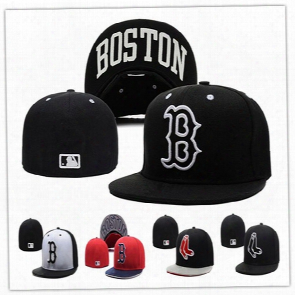 Wholesale Boston Red Sox Fitted Hats Baseball Cap Full Closure Red Sox Hats Size Flat-brim Hat Fitted Caps