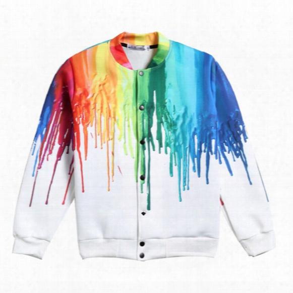 Wholesale- Fashion Colorful 3d Printing Jackets Mens Plus Size M-5xl Bomber Jackets Baseball Coats Long Sleeve Outwear