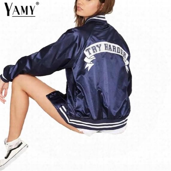 Wholesale- Fashion Try Harder Letter Print Bomber Jacket Women Winter Satin Full Sleeve Single Breasted Basic Coats Female Baseball Outwear