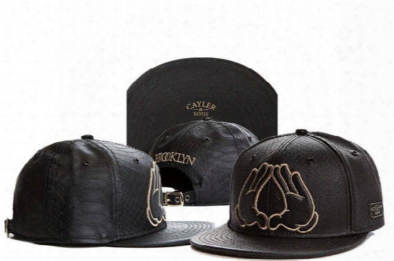 Wholesale-full Leather Cayler & Sons Black Hand Brooklyn Snapback Caps Hip Hop Cap Men Classic Adjustable Baseball Hats For Women Gorras