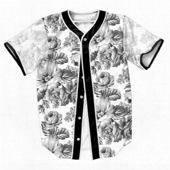 Wholesale-greatness Floral Jersey Summer Style With Buttons 3d Print Streetwear Men's Shirts Sport Tops Baseball Shirt Fashion Tkp Tees