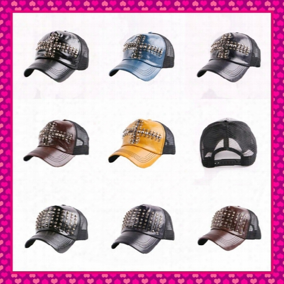 Wholesale-hot Wholesale New Design Summer Women Men Leather Baseball Caps With Studs Rivets Fashion Punk Unisex Hip Hop Snapback Cap Hats