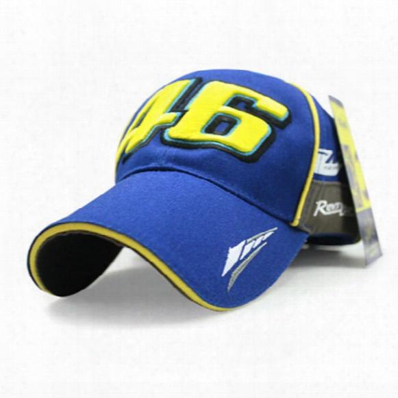 Wholesale- Iggy Brand Moto Gp Vr 46 Rossi Baseball Cap Hat Black Blue Cap Car Motocycle Racing Cotton Snapback Hats Caps