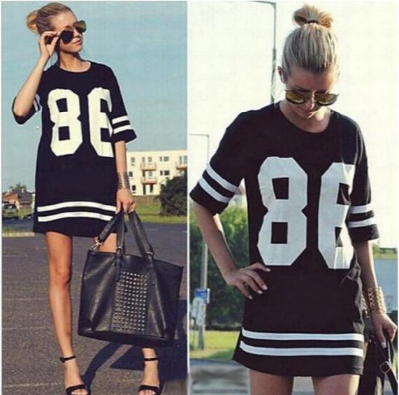 Wholesale-imc Summer Style Women T Shirt Celebrity Number 86 Tops Long Loose Hip Hop American Baseball Tee Ladies T-shirt Blusas