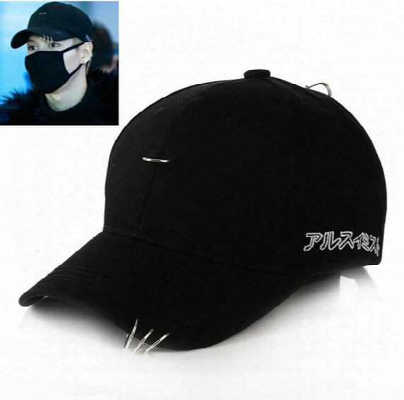 Wholesale- Kpop Gd Cl Bts V Suga Solid Ring Safety Curved Baseball Cap Women Men Curved Brim Plain Blank Snapback Cap Fishing Trucker Hat
