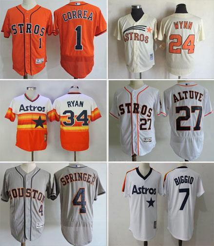 Wholesale Men Houston Astros Baseball Jersey Throwback24 Jimmy Wynn 1 Carlos Correa 4 George Springer 27 Jose Altuve 7 Craig Biggio Flexbase