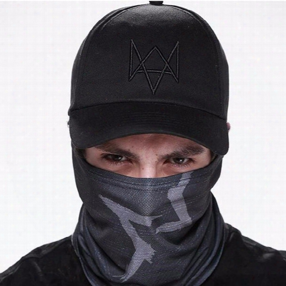 Wholesale- New 2017 Watch Dogs Aiden Pearce Black Baseball Cap Sport Sun Hat Cosplay Adjustable Strap Snapback Cap Men