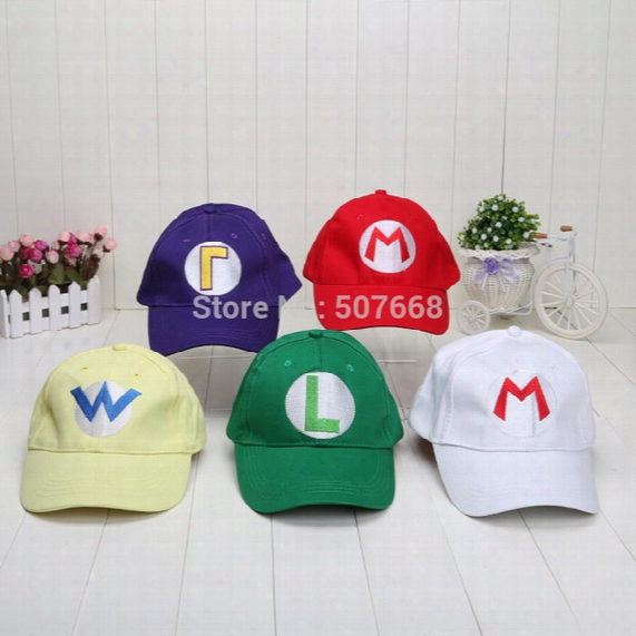 Wholesale- Super Mario Bros Baseball Hat Caps Red Blue Purple Yellow White Mario Luigi Hats 5 Colors Plush Toys