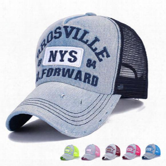 Wholesale- Wholesale Adults Casual Trucker Hats Women And Men Summer Letter Embroidery Denim Mesh Baseball Caps Bone Casquette