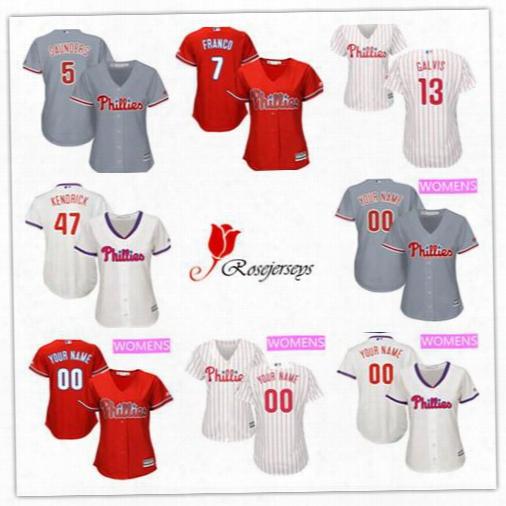 Women Custom Philadelphia Phillies 34 Andrew Knapp 29 Cameron Rupp 4 Andres Blanco 37 Odubel Herrera White Pinstripe Cream Gray Red Jerseys