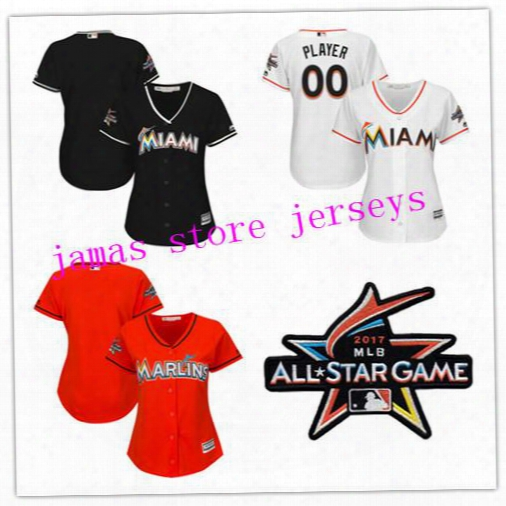Women's Miami Marlins White 2017 Cool Base Custom Jersey With All-star Game Patch Can Be Custom Any Name And Any Number