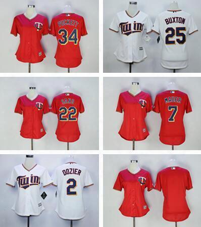 Womens Minnesota Twins 2 Brian Dozier 7 Joe Mauer 22 Miguel Sano 25 Byron Buxton 34 Kirby Puckett Baseball Jersey Stitched