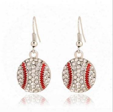 W Omens Sports Hook Earrings Basketball Softball Baseball Volleyball American Football Rhinestone Embellished Dangle Earrings Hanging Earring
