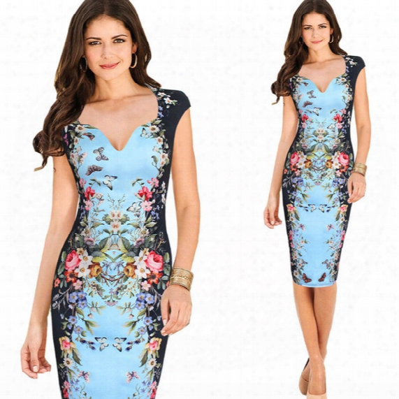 Womens Vintage Elegant Rose Flower Floral Printed Pinup Casual Party Mother Of Bride Pencil Sheath Bodycon Dress 4267