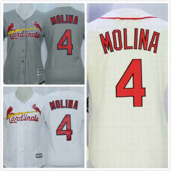 Womens Yadier Molina Jersey 4 Cardinals Baseball Jerseys Throwback Full Stitched Embroidery Logo Blue Grey White S-2xl Free Shipping
