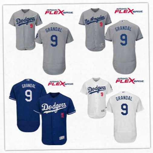 Yasmani Grandal Men's Los Angeles Dodgers #9 Yasmani Grandal Gray Alternate Stitched Mlb Majestic Flex Base Jersey Name And Number Embroider