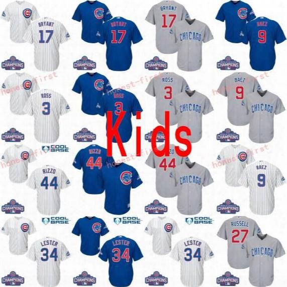 Youth 2016 World Series Gold Champions Chicago Cubs 9 Javier Baez 17 Kris Bryant 44 Rizzo 3 David Ross 18 Ben Zobrist Baseball Jerseys