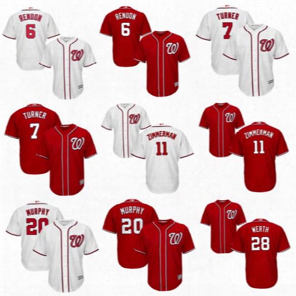 Youth 2017 Washington Nationals #7 Trea Turner #6 Anthony Rendon #11 Ryan Zimmerman #20 Daniel Murphy #28 Jayson Werth Kids Baseball Jerseys