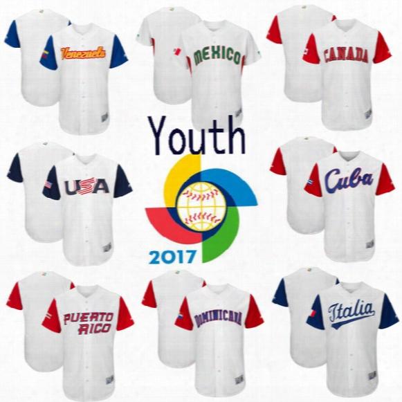 Youth 2017 World Baseball Classic Jersey Usa Canada Cuba Dominicana Ltalia Mexico Puerto Rico Venesuela Size S-3xl Customized Baseball Wbc