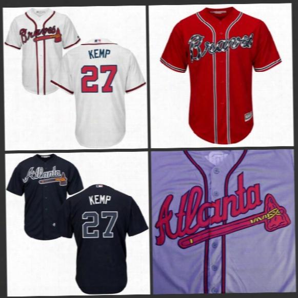 Youth #27 Matt Kemp Jersey 2017 Atlanta Braves Jersey Kids Matt Kemp Cool Base All Stitched Embroidery Baseball Jersey