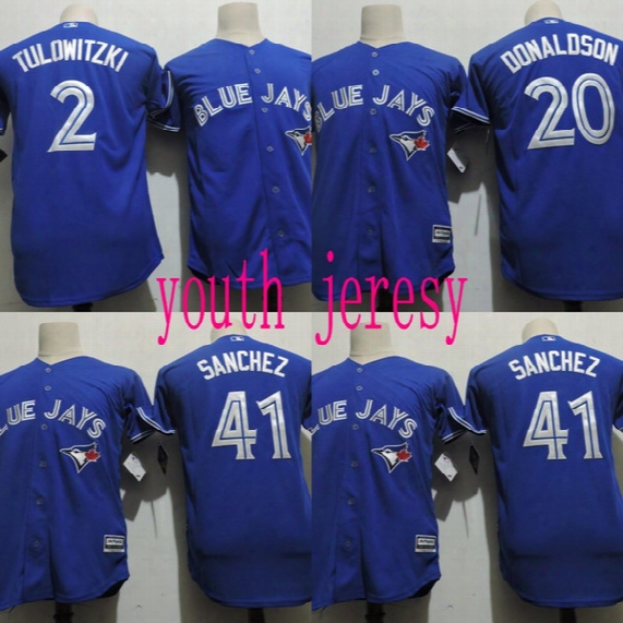 Youth Blue Jays Jersey Cheap 2 Troy Tulowitzki 20 Josh Donaldson 41 Aaron Sanchez 100% Stitched Embroidery Logos Baseball Jerseys Blue
