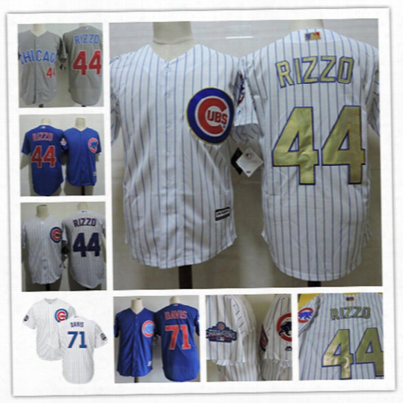 Youth Chicago Cubs Anthony Rizzo 2017 White Gold Program Players Baseball Jersey Stitched Kids Wade Davis Cubs Cool Base Jersey S-xxl