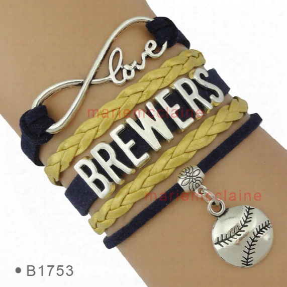 (10 Pieces/lot) Infinity Love Milwaukee Brewers Baseball Charm Bracelets For Women Men Jewelry A Single One  Themes Drop Shipping