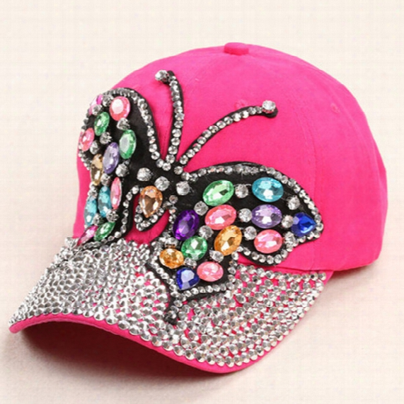 2015 New Arrive Hot Selling Colored Small Butterflies Full Canopies Point Drill Baseball Cap Adjustable Rhinestones Unisex Hat Wholesale