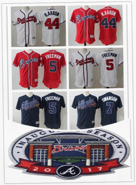 2017 Commemorative Patch Atlanta Braves Baseball Jerseys Stitched Hank Aaron Freddie Freeman Chipper Jones Jersey Flex Base Cool Base