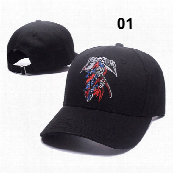 2017 Indian Chiefs Skulls Kangye Yeezus Cap For Women Men 6 Panel Hip Hop Embroidered Summer Hats Baseball Caps 13 Colors Can Adjustable