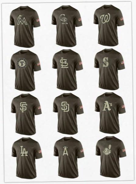 2017 Men Mlb All Team Tshirts Cheap Baseball Jerseys Printed Big Tall Banner Logos Green Salute To Service Platinum Collection T-shirts