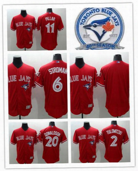 2017 Men's Elite Jersey Series Bluebird Toronto Tulowitzki #2 Stroman #6 Donaldson #20 #2baseball Jerseys Size(m To Xxxl)