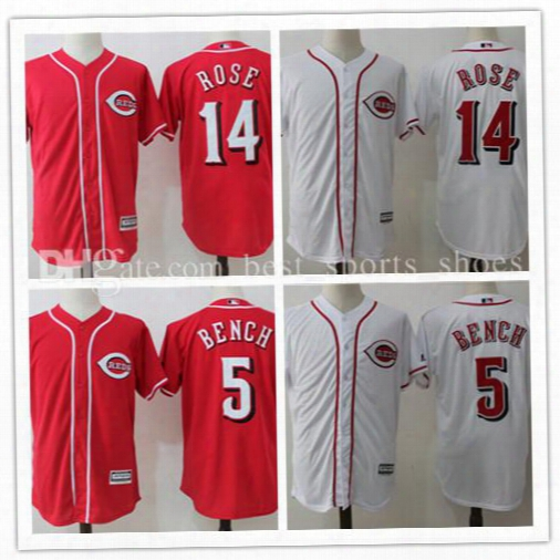 2017 Men's Johnny Bench 5 Pete Rose 14 Stitched Jersey Cincinnati Reds Baseball Jerseys Majestic Scarlet Official Cool Base Player Jersey