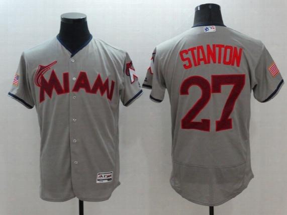 2017 Men's Miami Marlins 16 Jose Fernandez 27 Giancarlo Stanton Andre Dawson Cool Base Flexbase Baseball Jersey Stitched