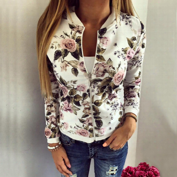 2017 New Bomber Jacket Print Flowers Women White Souvenir Floral Coat Casual Baseball Jacket Sukajan Zipper Chaquetas Mujer
