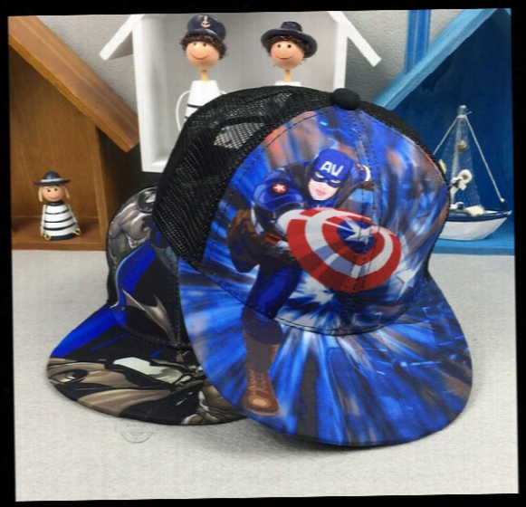 2017 New European And American Children's Baseball Cap Print Batman Superman Series Children's Hat Outdoor Sunshade Hip-hop Hat Wholesale