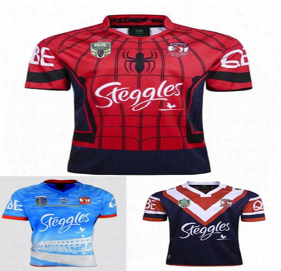 2017 Sydney Roosters Rugby Jerseys Men 9s Rugby Shirts Spider Man Jerseys Home Jerseys Top Quality Roosters Shirts Size S-3xl