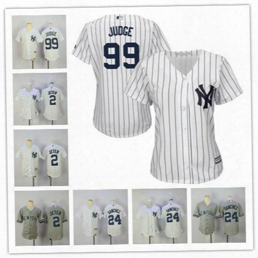 2017 Women Youth New York Yankees 2 Derek Jeter24 Gary Sanchez 99 Aaron Judge White Navy Home Cool Base Jerseys Stitched Free Shipping