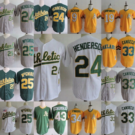 24 Ricky Henderson Throwback Baseball Jersey Oakland Athletics Jersey 25 Mark Mcgwire 33 Canseco Jackson Campaneris Fingers Canseco Jersey