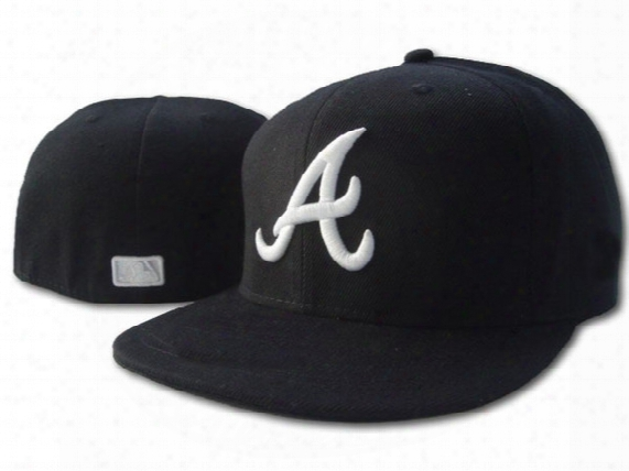 594 New Atlanta Braves Medium Raised Embroidery Letter Fitted Hat Structured Fit Classic On-field High Crown Baseball Cap
