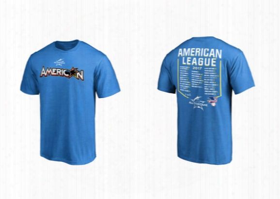 American League Blue 2017 Mlb All-star Game Roster T-shirt Name & Number Correa Lindor Sanchez Trout Altuve Sale Betts Judge Tee