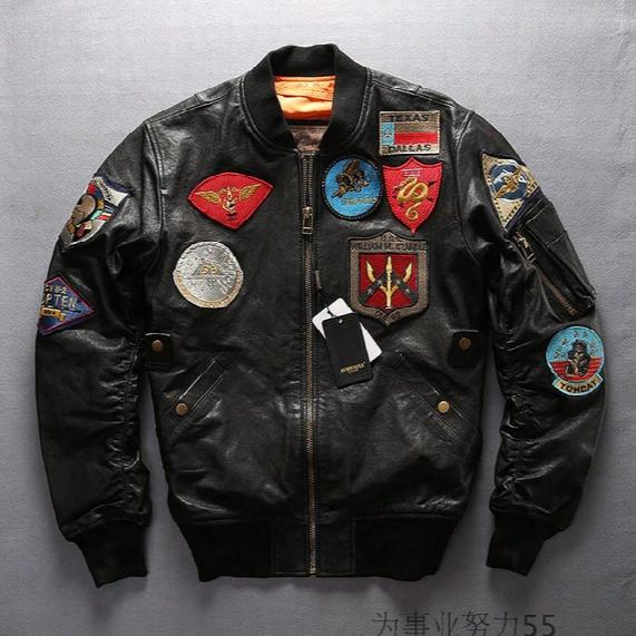 Avirex Fly Flight Bomber Jackets Texas Dallas Sfabees William Standl100% Genuine Leather Baseball Jackets Far East Cruise 63-4 Uss Galveston