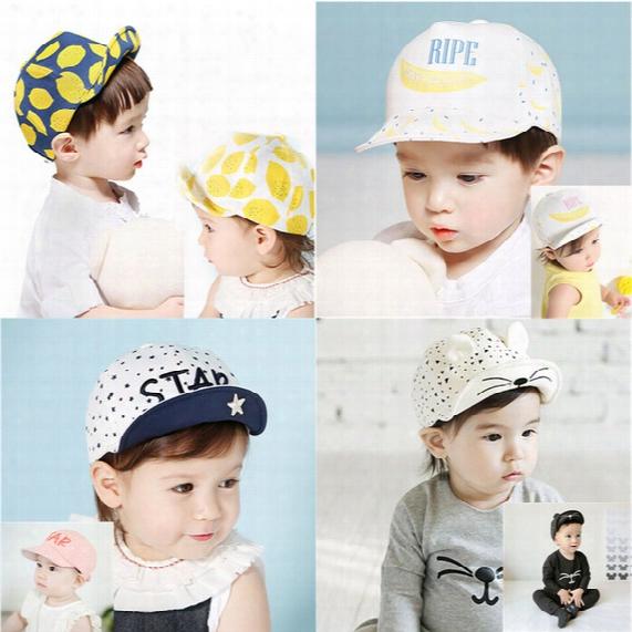 Baby Beanie Caps Toddler Infant Skull Hats Kids Boys Girls Cotton Flat Cap Spring Travel Lemon Sun Hat Children Baseball Snapback Church Hat