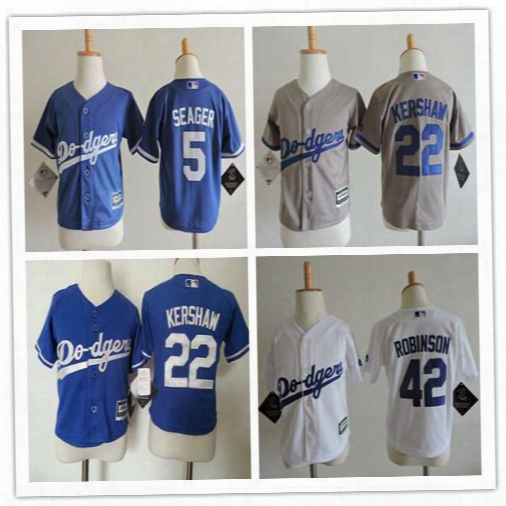 Baby Los Angeles Dodgers 22 Clayton Kershaw Ccool Base Jersey Blue Stitched Baseball Toddler 42 Jackie Robinson 5 Seager Preschool Jerseys