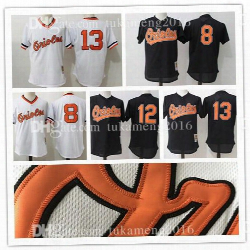 Baltimore Orioles 8 Cal Ripken Jr. Throwback Baseball Jerseys Orioles Majestic Roberto Alomar Embroidery Mitchell & Ness 1985 Mesh Jersey