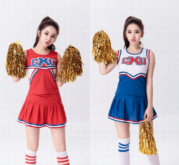 Baseball Football Cheerleading Glee Costume Aerobics Clothing Uniforms For Performances Sleeveless Dress Size S M L Xl Xxl Wy6939